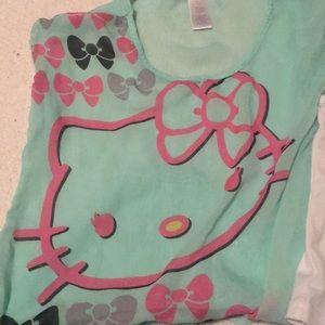 Hello kitty teal dressy blouse shortsleeved